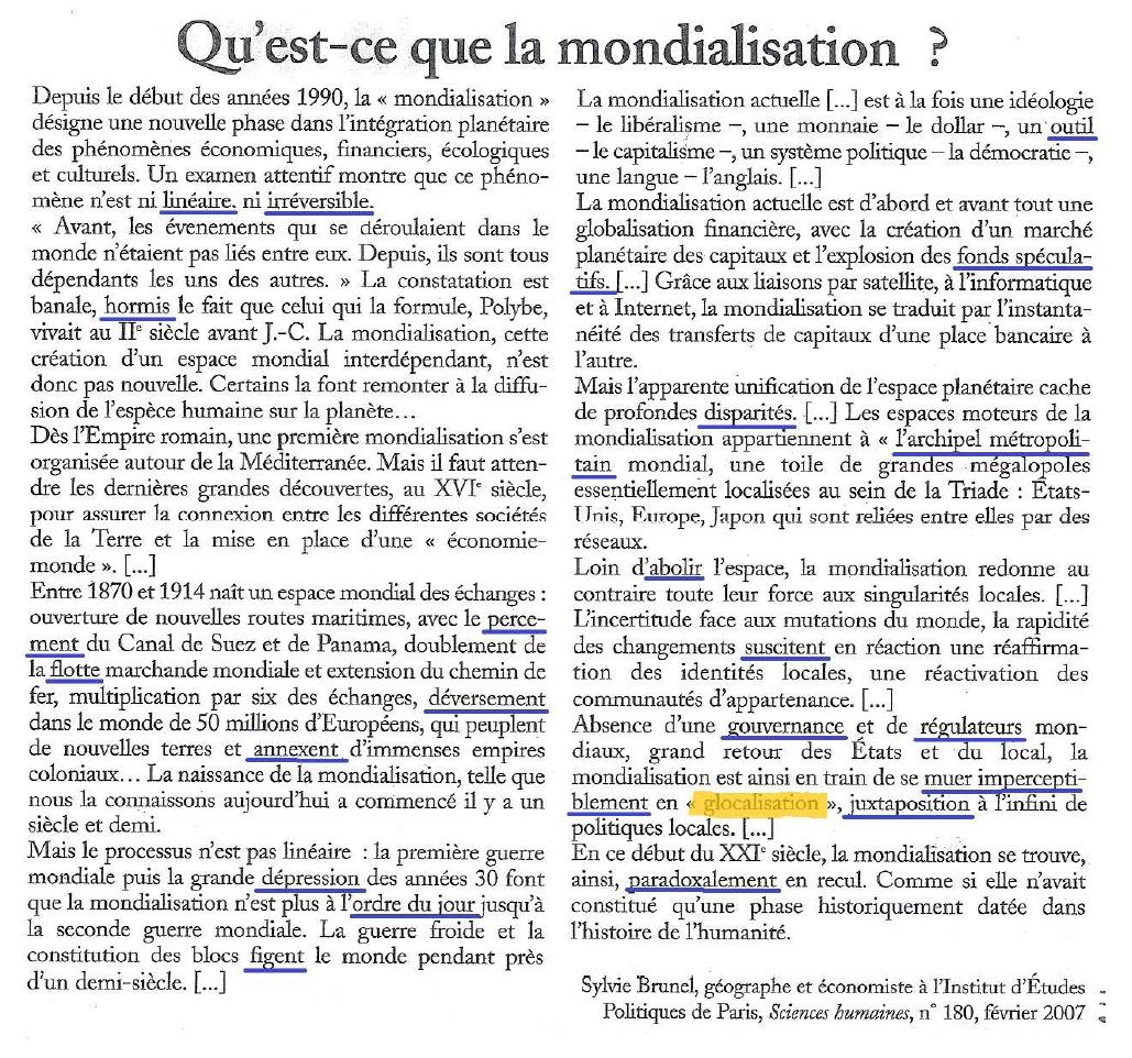 Annexe 8 texte qu est ce que la mondialisation - Qu est ce que la ceramique ...
