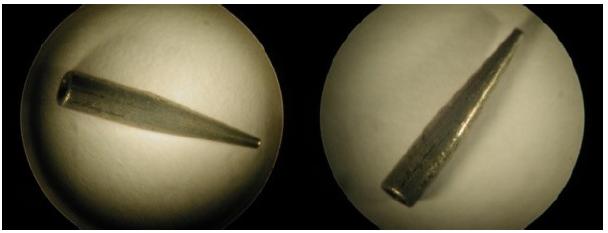 Figure 11 Clichés de la buse de filage (longueur  environ 1 cm, diamètre du conduit à l'extrémité 300 μm)
