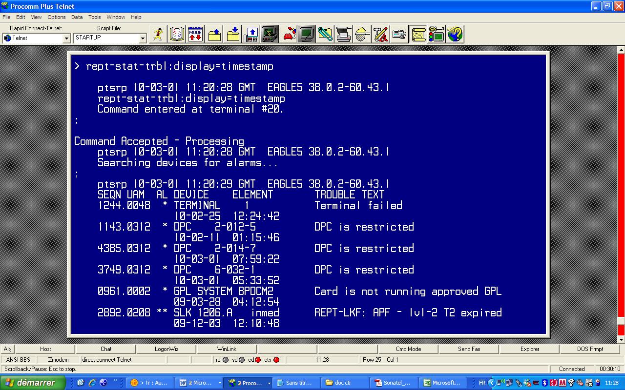interface utilisateur du STP, PROCOM PLUS