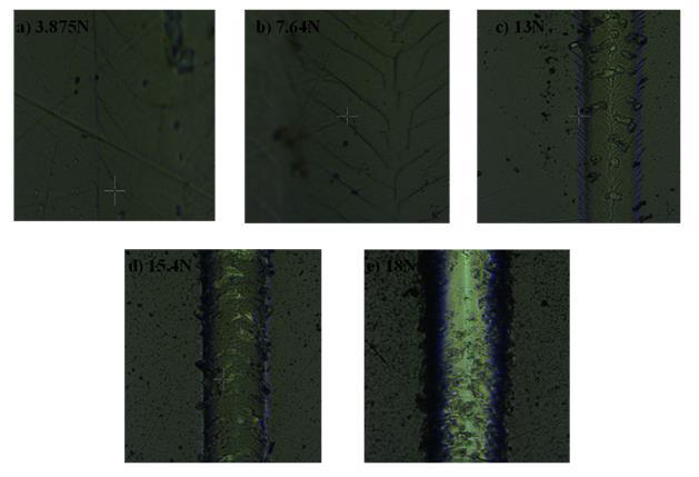 Micrographies en microscopie optique du sillon  diverses étapes du début du scratch jusqu'au délaminage total du revêtement WC, sens de scratch  de bas en haut