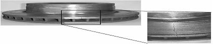 Observation d'une fissure radiale de la bordure extérieure du disque jusqu'au bol