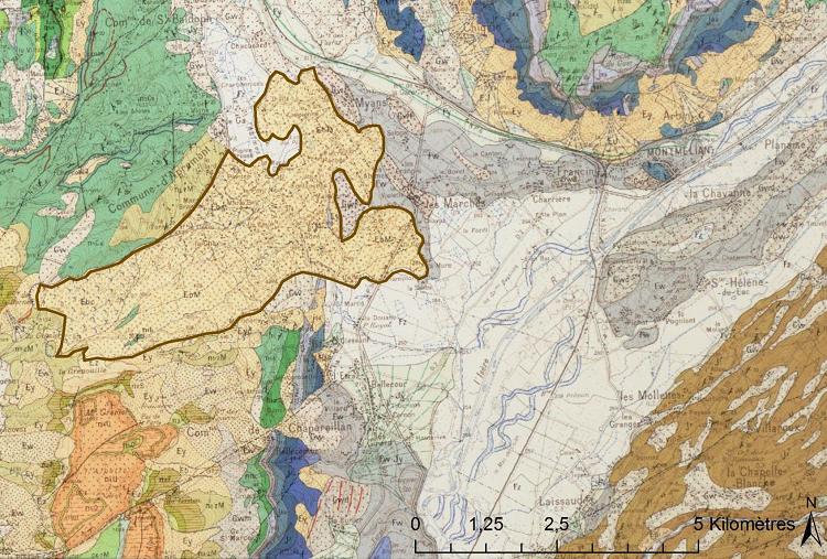 Carte géologique au 1 50 000 de Montméliant. L'éboulement de 1248 est souligné par un trait marron. Barféty, J.-C., & Gidon, M., 1969