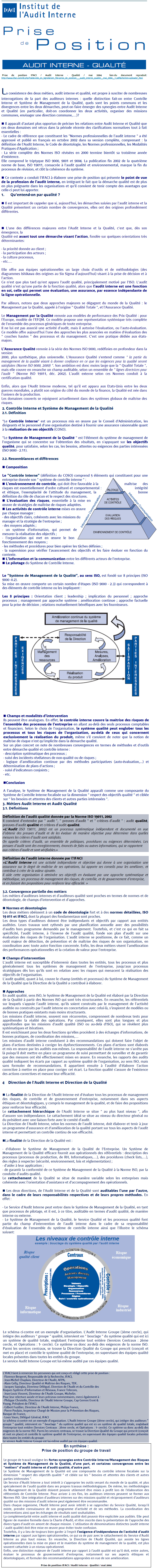 IFACI - PRISE DE POSITION – AUDIT INTERNE –QUALITE – MAI 2004
