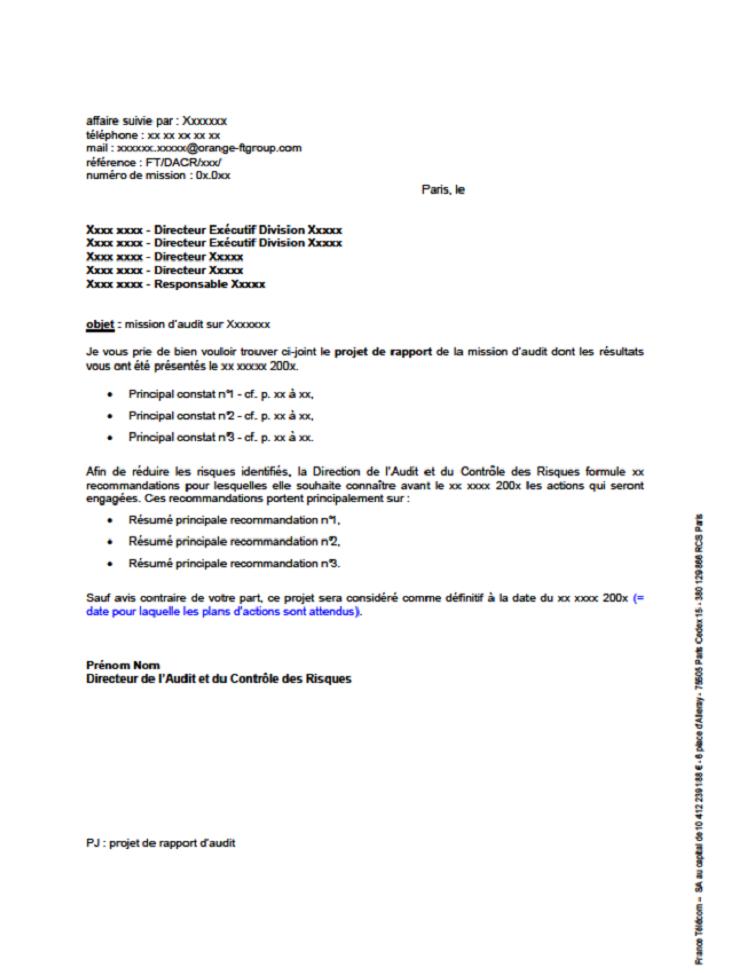 Modèle envoi lettre projet rapport d'audit interne