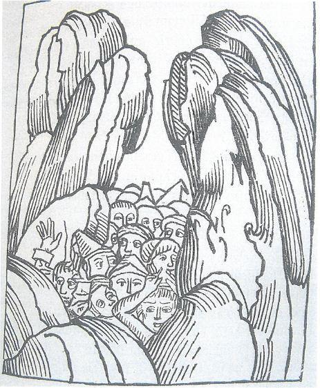 Première représentation connue de la catastrophe du Granier - Gravure sur bois extraite du Liber chronicarum de Hartman Schedel, Nuremberg, 1493