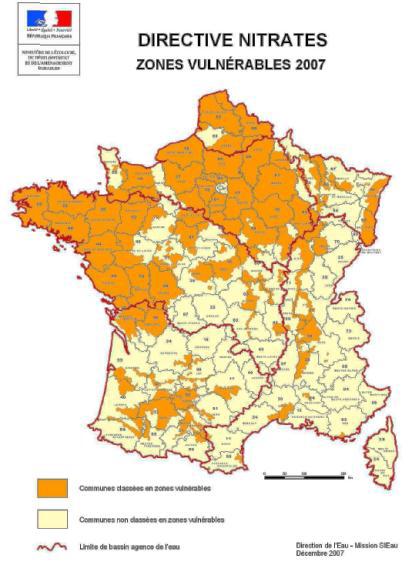 Carte 2007 des zones vulnérables « Directive Nitrates » (source MEEDDAT)