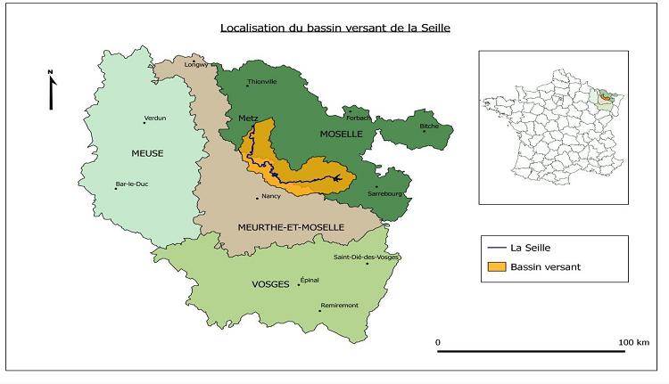 Localisation du bassin versant de la Seille