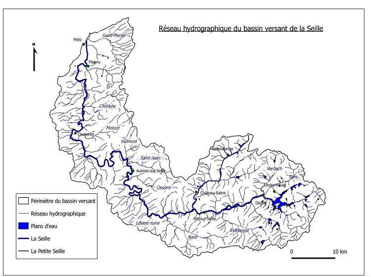 Réseau hydrographique du bassin versant de la Seille