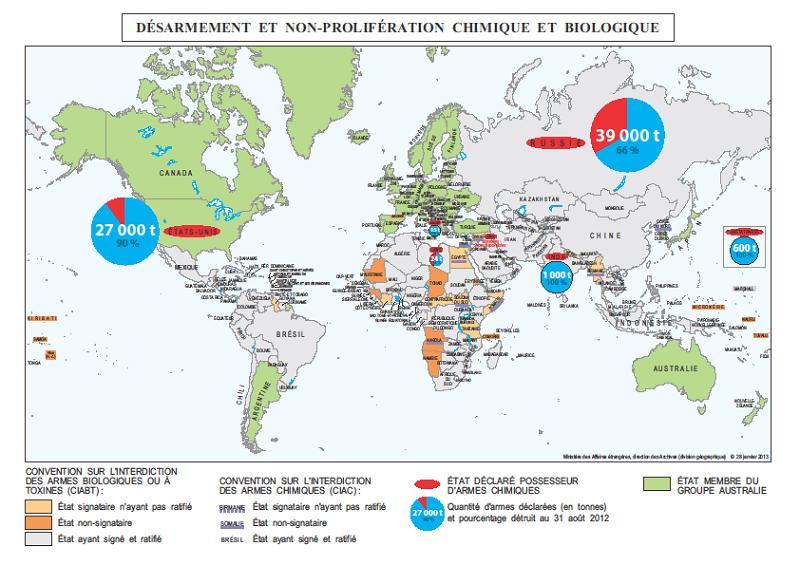 Carte de désarmement et de non-prolifération chimique et biologique, réalisée en janvier 2013