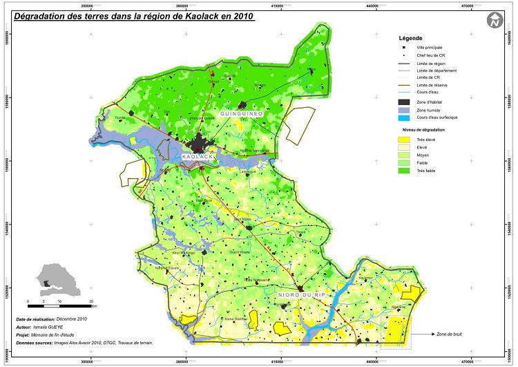 Dégradation des terres dans la région de Kaolack en 2010