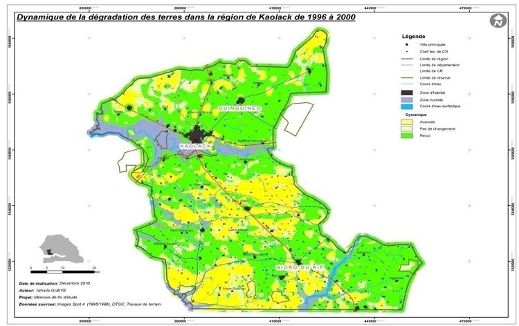 Dynamique de la dégradation des terres dans la région de Kaolack de 1996 à 2000