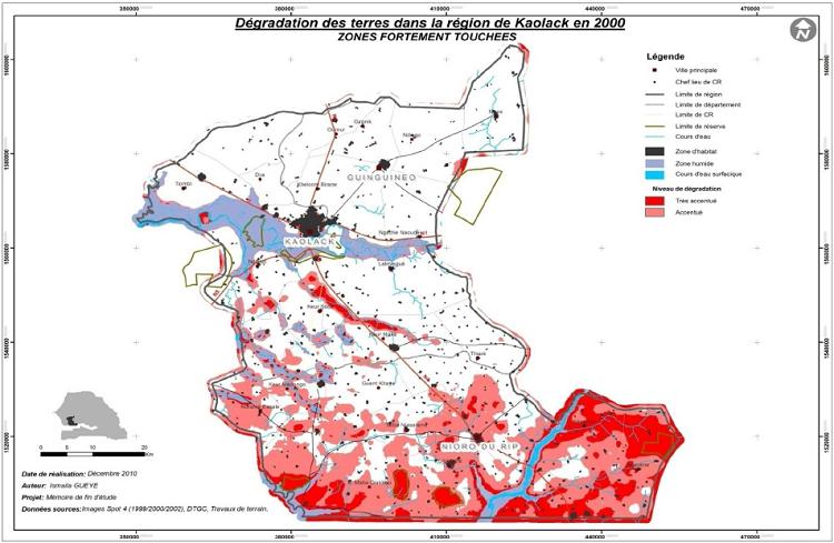 Répartition de la dégradation de niveaux d'intensité élevés en 2000