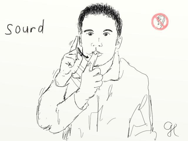 Signe associé au mot sourd en LSF