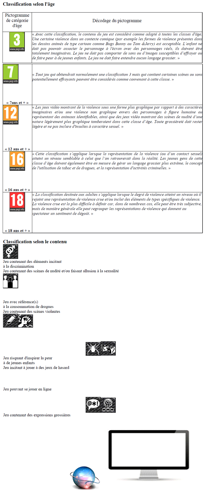 Système de classification du pan european game information
