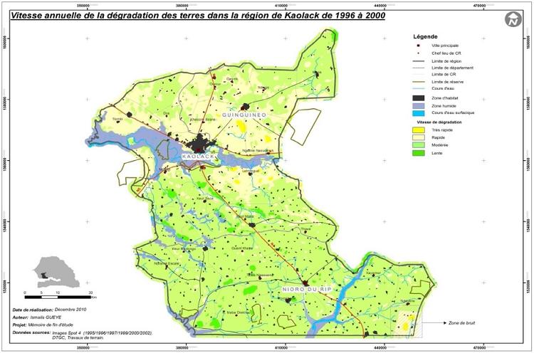 Vitesse annuelle de la dégradation des terres dans la région de Kaolack de 1996 à 2000