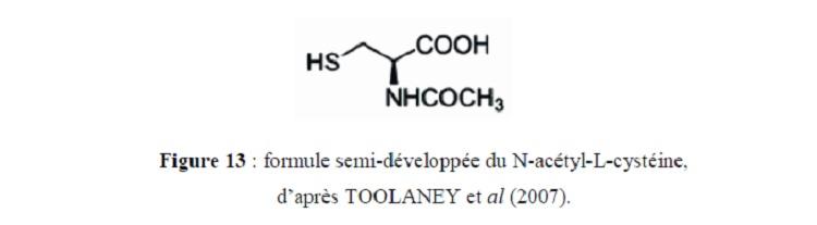 Figure 12 formule semi-développée du N-acétyl-L-cystéine, d'après TOOLANEY et al (2007)