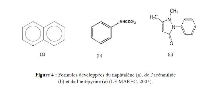 Figure 4  Formules développées du naphtalène (a), de l'acétanilide (b) et de l'antipyrine (c) (LE MAREC, 2005)