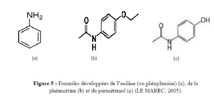 Figure 5 Formules développées de l'aniline (ou phénylamine) (a), de la phénacetine (b) et du paracétamol (c) (LE MAREC, 2005)