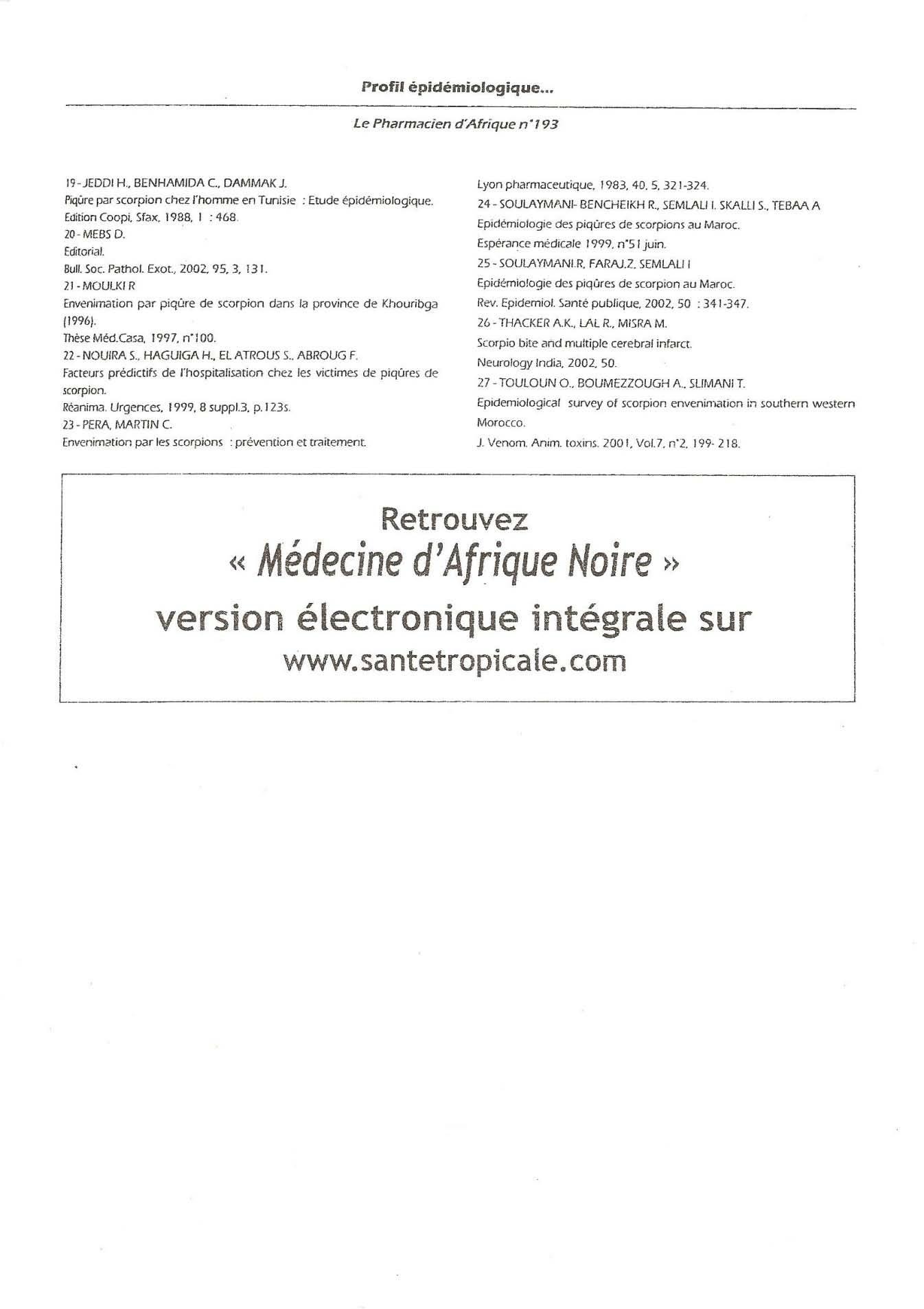 Figure' 11 Scorpionisme, Epidémiologie et Facteurs de Risque au Maroc  cas de la province de Khouribga