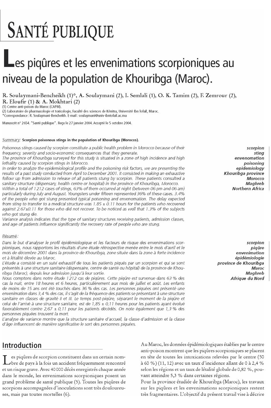 Page 1 Scorpionisme, Epidémiologie et Facteurs de Risque au Maroc  cas de la province de Khouribga