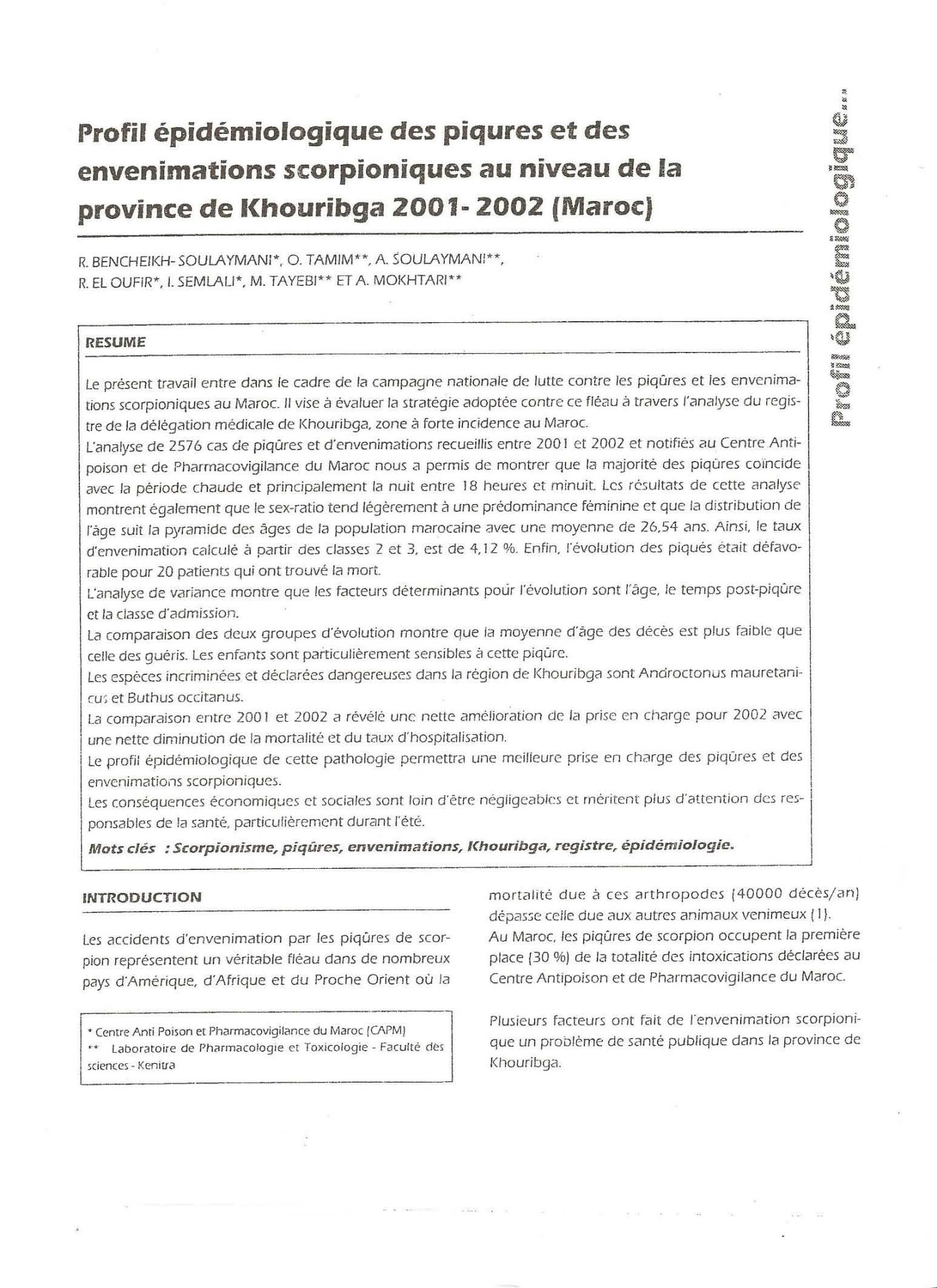 Page' 1 Scorpionisme, Epidémiologie et Facteurs de Risque au Maroc  cas de la province de Khouribga