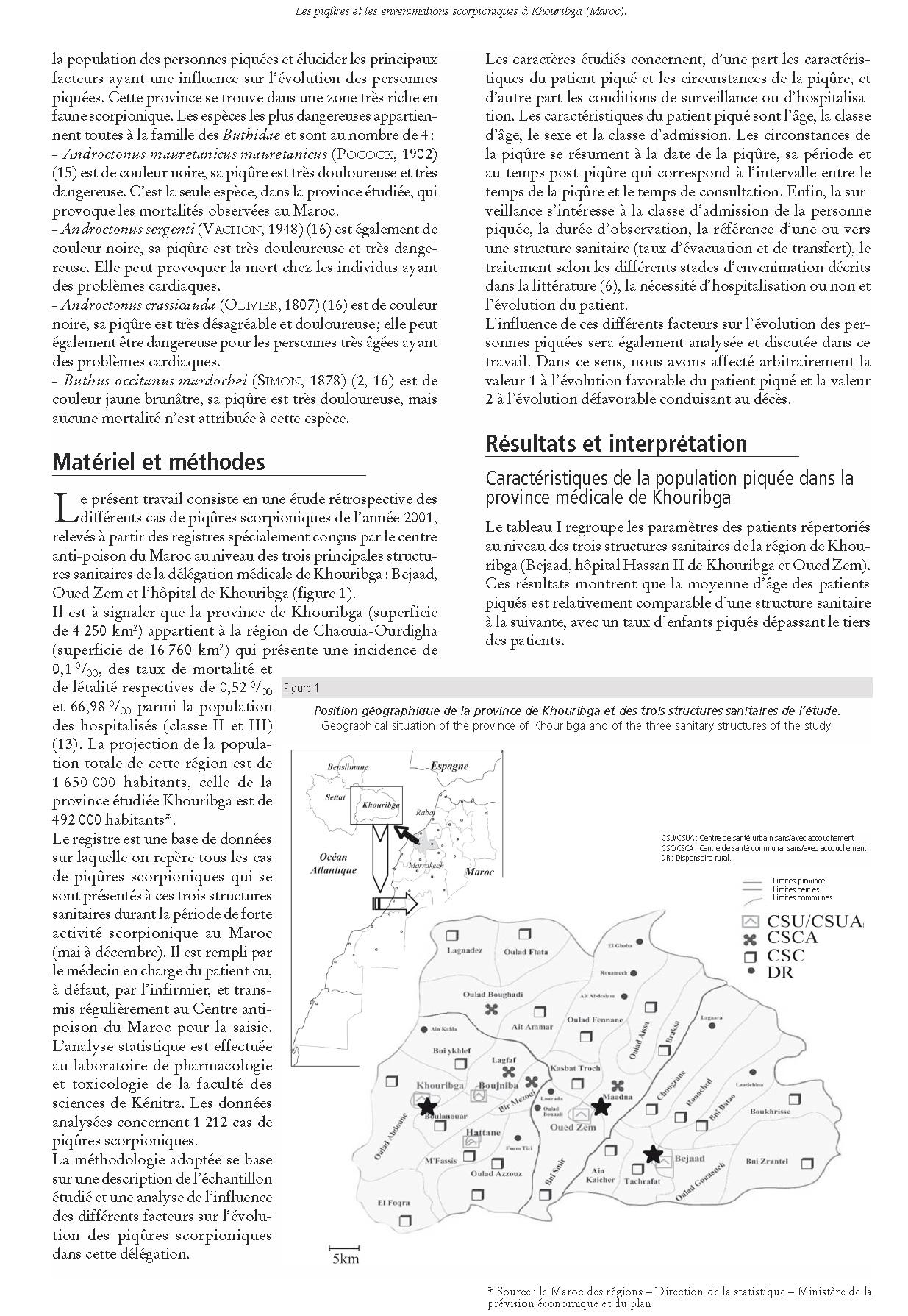 Page 2 Scorpionisme, Epidémiologie et Facteurs de Risque au Maroc  cas de la province de Khouribga