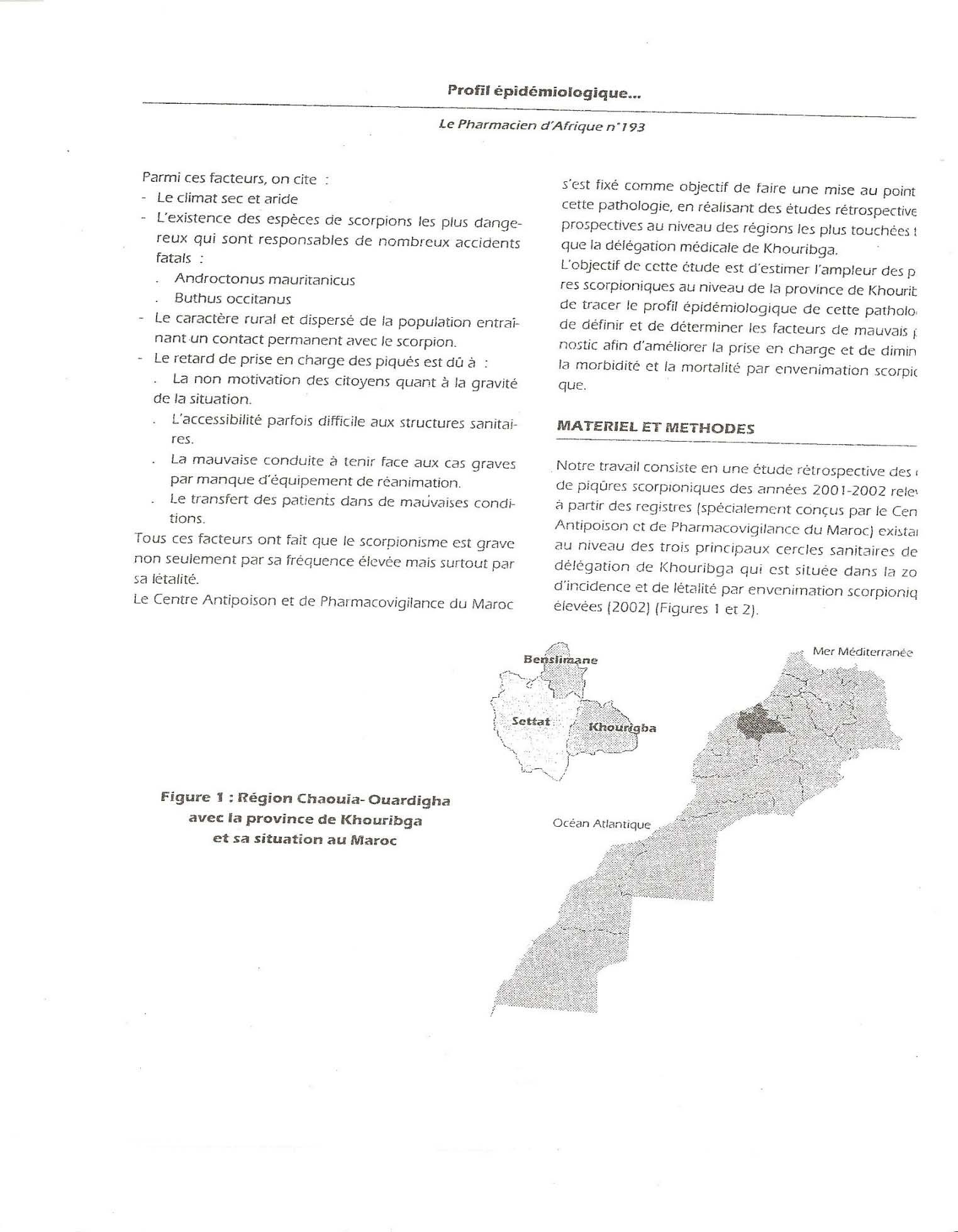 Page' 3 Scorpionisme, Epidémiologie et Facteurs de Risque au Maroc  cas de la province de Khouribga