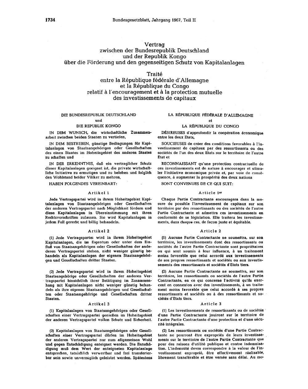 Annexe 12 Le traité bilatéral d'investissement entre le Congo et le Royaume-Uni 1