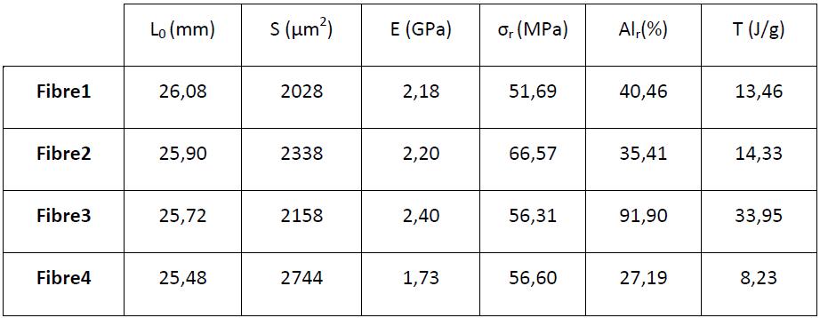 Caractéristiques mécaniques des fibres brutes multibrins (recuites et non recuites) 1