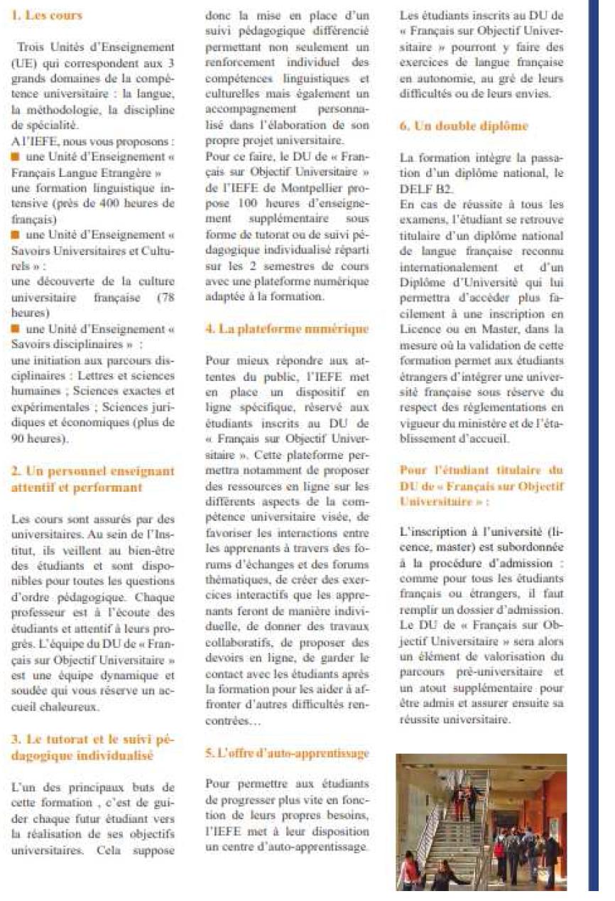 Annexe 1' PRÉPARATION AUX ÉCRITS UNIVERSITAIRES EN FRANÇAIS DES ÉTUDIANTS ÉTRANGERS AVEC UN DISPOSITIF MULTIMÉDIA EN FRANÇAIS SUR OBJECTIF UNIVERSITAIRE