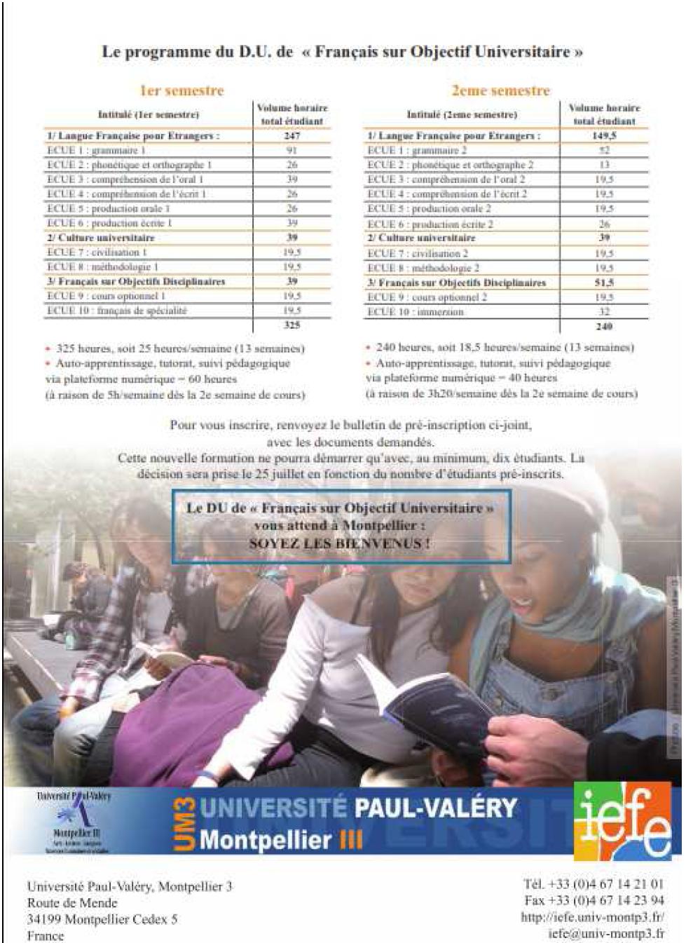 Annexe 1'' PRÉPARATION AUX ÉCRITS UNIVERSITAIRES EN FRANÇAIS DES ÉTUDIANTS ÉTRANGERS AVEC UN DISPOSITIF MULTIMÉDIA EN FRANÇAIS SUR OBJECTIF UNIVERSITAIRE