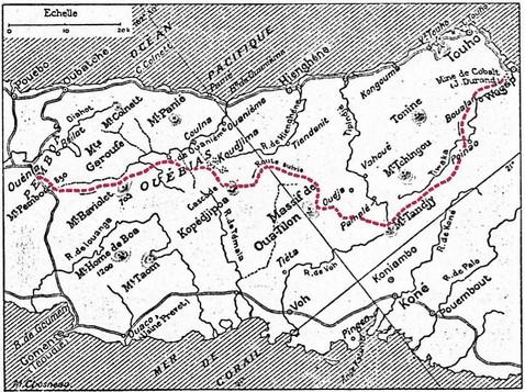 Carte d'une partie de la Nouvelle-Calédonie occupée par les Ouébias.