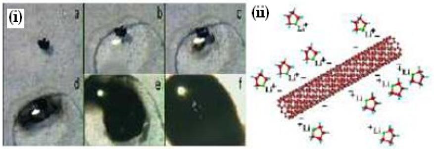 (i) Dissolution spontanée d'un sel polyélectrolytes de nanotubes de Carbone dans le diméthylsulfoxide. (ii) Schéma de la structure des CNts polyélectrolytes.