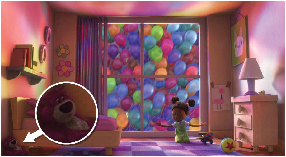 Illustration 10 Dans ce plan de Là-Haut, l'ours Lotso fait sa première apparition (à gauche) et le ballon étoilé se montre une nouvelle fois (à droite)
