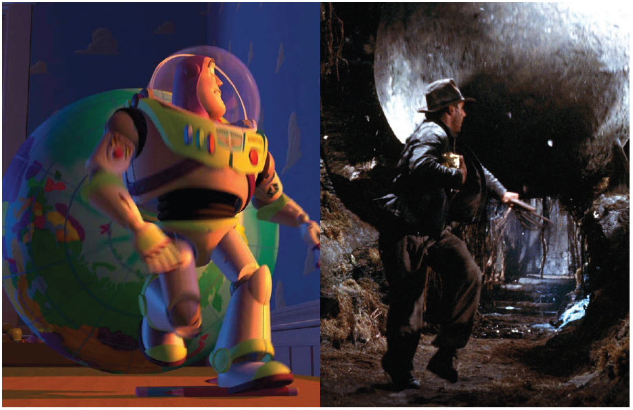 Illustration 13 Buzz l'Éclair et Indiana Jones dans une même situation périlleuse