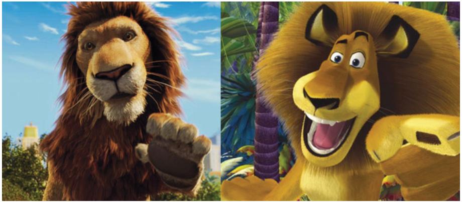 Illustration 16 Le lion réaliste vu par Disney (à gauche) et celui plus expressif proposé par DreamWorks (à droite)