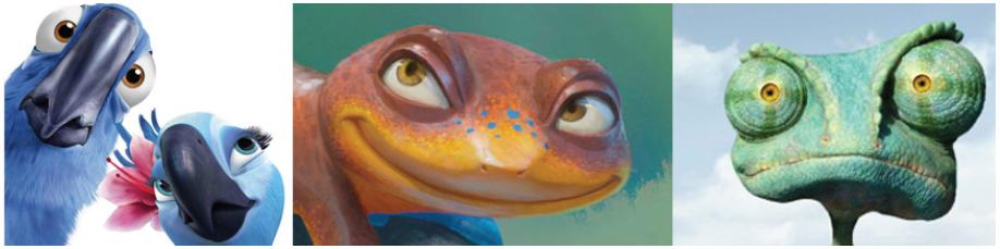 Illustration 17 Newt (au centre), reptile abandonné à cause des oiseaux de Rio (à gauche) et du caméléon Rango (à droite)