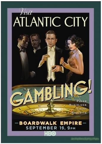 Illustration 4 Affiche de Boardwalk Empire. Le thème utilisé est le jeu d'argent à Atlantic City dans les années 20