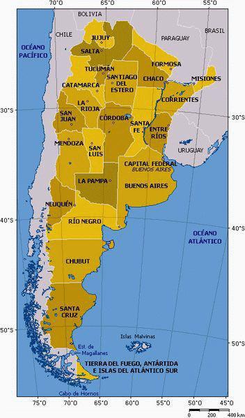Carte de l'Argentine et provinces