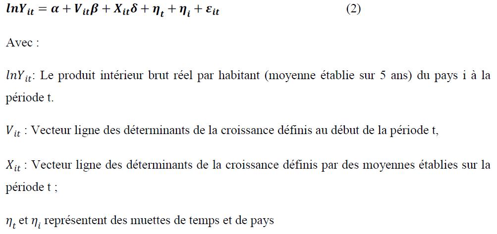 spécification économétrique du modèle