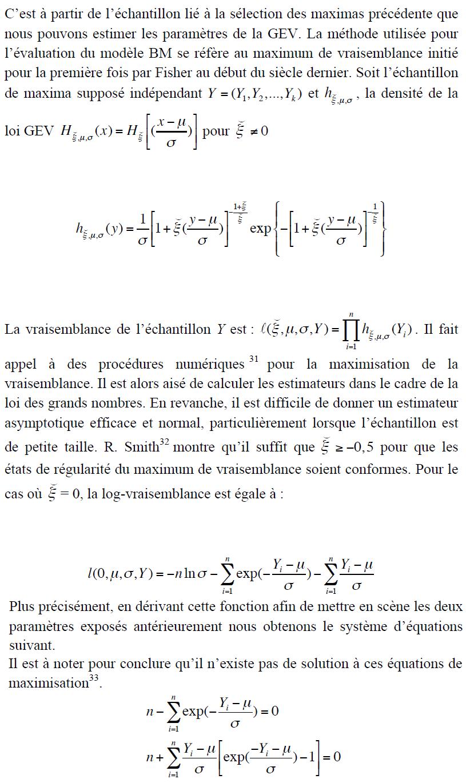 Estimation du modèle BM
