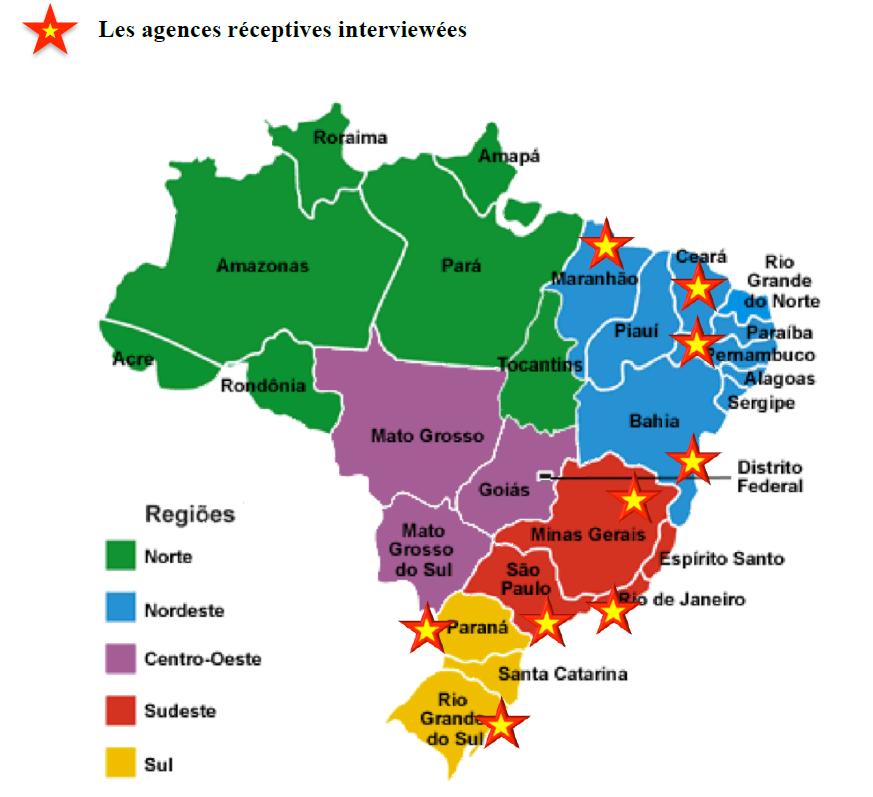 Plan du Brésil les Etats