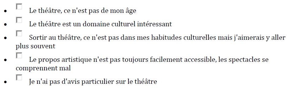 Quelles sont les phrases qui correspondent à votre état d'esprit concernant le théâtre