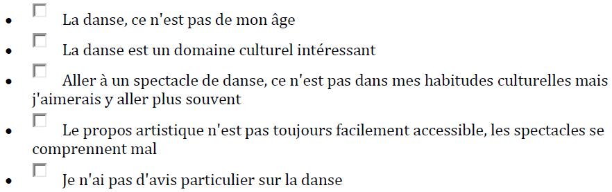 Quelles sont les phrases qui correspondent à votre état d'esprit concernant les spectacles et festivals de danse