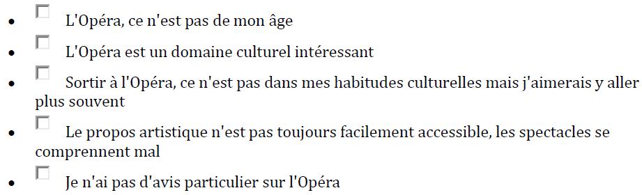 Quelles sont les phrases qui correspondent à votre état d'esprit concernant l'opéra
