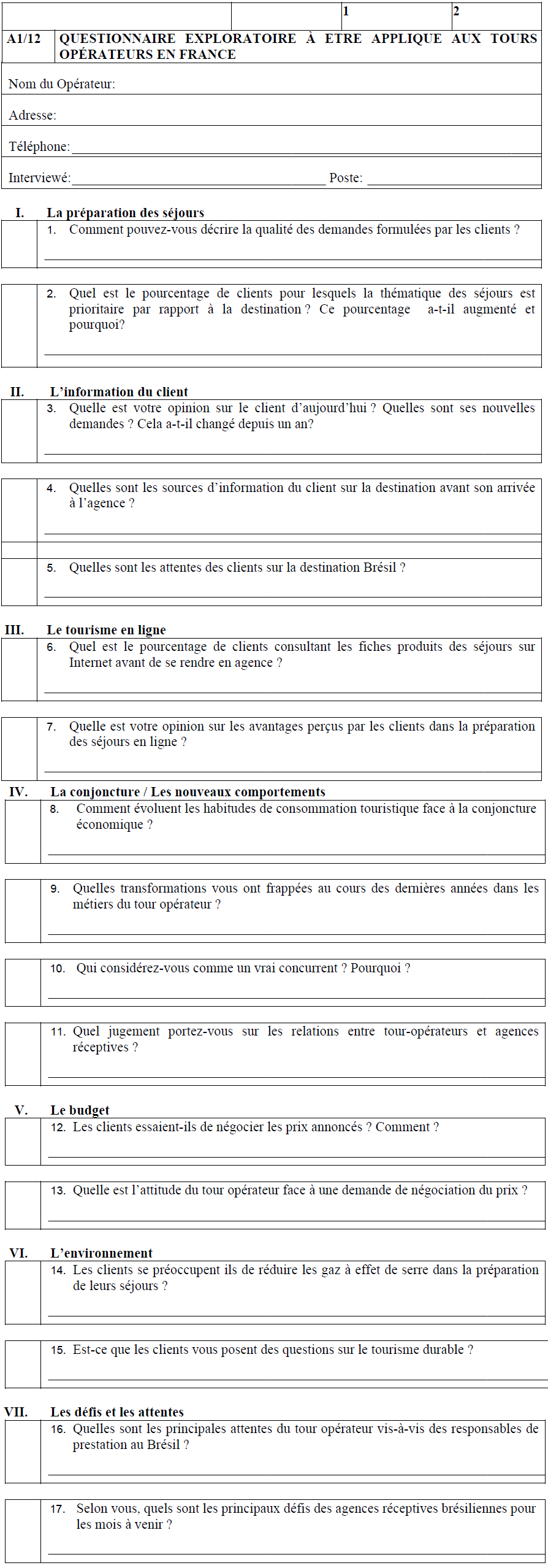Questionnaire exploratoire aux tours opérateurs en France