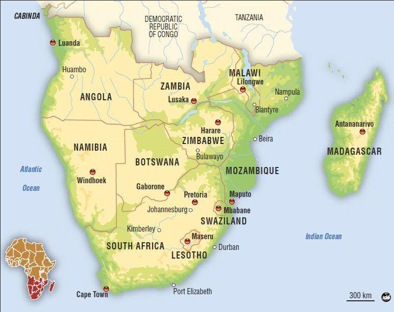 Southern African map