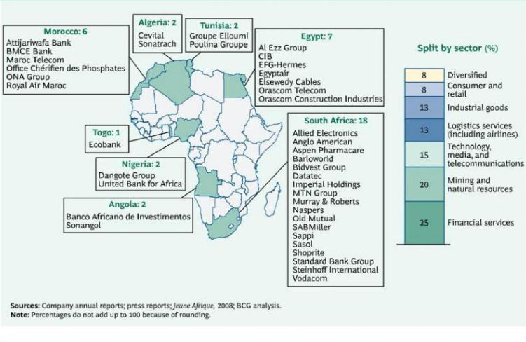 Split of the African challengers by sector and by country