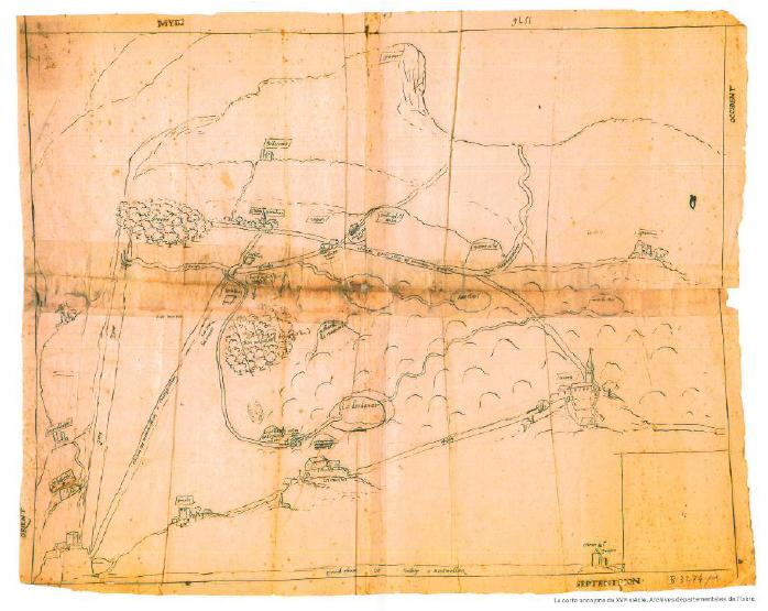 Carte anonyme du XVIe siècle, archives départementales de l'Isère
