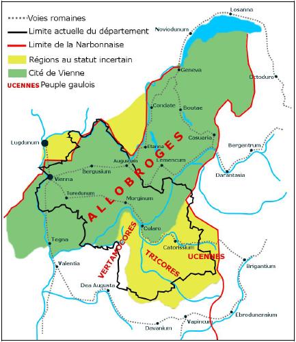 Carte de l'Allobrogie d'après « La cité de Vienne  Un vaste territoire », Atlas du patrimoine de l'Isère, p 41, édition Glénat. Publiée en creative commons sur wikimedia